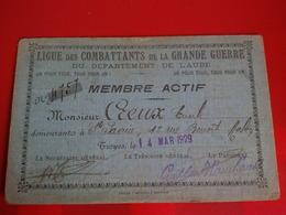 LIGUE DES COMBATTANTS DE LA GRANDE GUERRE DEPARTEMENT DE L AUBE 1929 - Vecchi Documenti