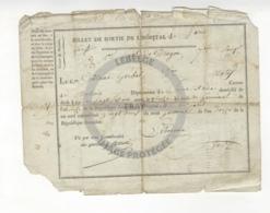 /!\ 1312 - Parchemin - Militaire - 1804 - Paris -  Billet De Sortie De L'hopital - Manoscritti