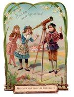 Chromo Festonnée Chocolat Cacao Van Houten Observation Enfant Garçon Jeune Fille Lunette Vue étoile Ciel Grand Format - Van Houten