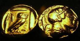 ATTIQUE - ATHÈNES - - Athéna A La Chouette.OR PL (ENVIRON 400 AVANT JÉSUS CHRIST REPRODUCTION - Fausses Monnaies