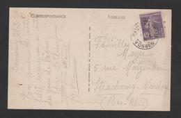 FRANCE / 1927 / Y&T N° 236 : Semeuse Fond Plein 40c Violet - Sur CP DOMREMY LA PUCELLE Oblitérée NEUFCHATEAU (88) - Marcophilie (Lettres)