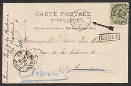 """Fine Barbe - N°56 Sur CP Vue (Bruxelles) Vers Bruxelles + Obl """"Bruxelles / Facteurs"""" Et Griffe REBUT. TB - 1893-1900 Thin Beard"""