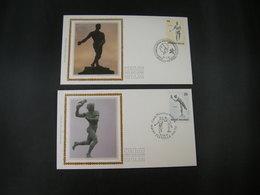 """BELG.1991 2400 & 2401 FDC's Soie/zijde  : """" Beeldhouwwerken XIXe Eeuw / Sculptures Belges Du XIXe Siécle """" - FDC"""