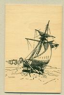 1) Carte En Bois Map In Wood Voilier Sailing Ship Mer Sea Création Mamuse 07230 St-Genest Modèle ...Fabriqué En France - Postales