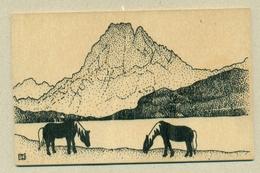 2) Carte En Bois Map In Wood Montagne Mountain Cheval Horse Création Mamuse 07230 St-Genest Modèle ...Fabriqué En France - Postales