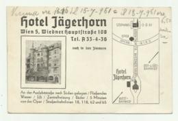 WIEN - HOTEL JAGERHORN 1951 - BIGLIETTO  - NV FP - Publicités
