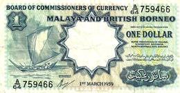 MALAYSIA MALAYA & BRITISH BORNEO GREEN $1 BOAT & BACK DATED 01-03-1959 P.8A VF READ DESCRIPTION !! - Malasia