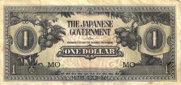 MALAYSIA MALAYA JAPAN OCCUPATION $1 BLACK PREFIX MO FRUIT FRONT MOTIF BACK ND(1942-44)VF P? READ DESCRIPTION!! - Malaysia