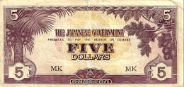 MALAYSIA MALAYA JAPAN OCCUPATION $5 BROWN PREFIX MK FRUIT FRONT MOTIF BACK ND(1942-44)aVF P? READ DESCRIPTION!! - Malaysia