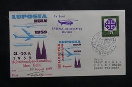 ALLEMAGNE - Enveloppe 1er Vol Par Hélicoptère De Köln En 1959 - L 41345 - Brieven En Documenten