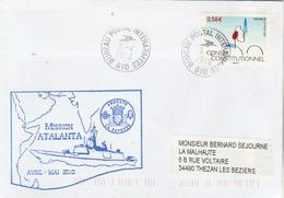 Mission ATALANTA 2010 Frégate LAFAYETTE Cachet Bureau Postal Interarmées 610  Du 5/4/2010 - Enveloppe 2 - Postmark Collection (Covers)