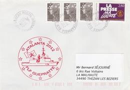 Mission ATALANTA 2012 Frégate FLF GUEPRATTE Cachet Bureau Postal Interarmées 610  Du 26/4/2012 - Postmark Collection (Covers)