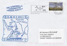 Mission ATALANTA Et ZMOI 2011 Frégate SURCOUF Cachet Flamme Paris Tri Interarmées - Enveloppe 2 - Postmark Collection (Covers)