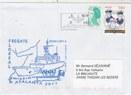 Mission ATALANTA  2011 Frégate FLOREAL Cachet Flamme Paris Tri Interarmées - Postmark Collection (Covers)