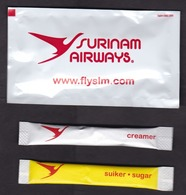 Surinam Airways (SLM): Napkin, Sugar & Creamer Packet, Bag, Sachet (traces Of Use) - Cutlery