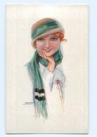 T7034/ Usabal Künstler AK  Junge Frau Mit Mütze  Wintermotiv Ca.1920 - Illustrateurs & Photographes