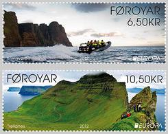 DANMARK Foroyar 0745/46 Europa, Tourisme, Oiseau, Bateau Pneumatique Zodiac - 2012