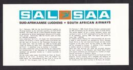 South African Airways SAA / SAL: Advertorial Card, Advertisment (traces Of Use) - Advertenties