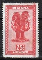 Ruanda-Urundi 1948 Single 25c Stamp From The Definitive Set. - Ruanda-Urundi