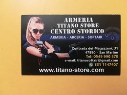BIGLIETTO DA VISITA CARTONCINO ARMERIA SOFT AIR ARM REPUBBLICA SAN MARINO CON CARTINA - Cartoncini Da Visita