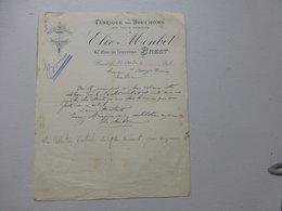 BREST 1898 Fabrique De Bouchons Elie Monbet, Facture Autographe Ref 568 ; PAP06 - Frankreich