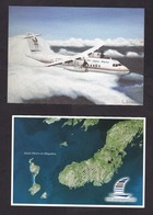 Air Saint-Pierre: 2x Advertorial Picture Postcard, St Pierre & Miquelon Airline, ATR Airplane (traces Of Use) - Cadeaux Promotionnels