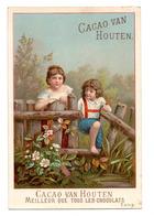 Chromo Chocolat Cacao Van Houten Hollande Pays Jeu Enfant Fillette Garçonnet Course Jardin Barrière Bois Grand Format - Van Houten