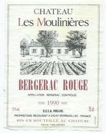 Etiquette Vin Bergerac Chateau Les Moulinieres 1990 - Bergerac