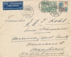 Nederlands Indië - 1931 - 12,5 Cent Opdrukzegel En 75 Cent Luchtpost Op LP-cover Van Malang Naar Maastricht / Nederland - Niederländisch-Indien