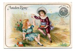 Chromo Amidon Remy Tête Lion Gaillon Eure Jeu Enfant Garçonnet Fillette Récolte Cerise Corbeille Fruit Rouge Dégustation - Trade Cards