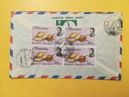 1977 BUSTA INTESTATA VIAGGIATA MAURITIUS AIR MAIL BOLLO MARINE LIFE RACCOMANDATA OBLITERE PLAINE MAGNIEN - Mauritius (1968-...)