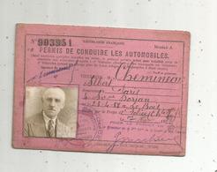 Permis De Conduire Les Automobiles , Préfecture De Police De Charente Inférieure ,  1933 , 2 Scans - Old Paper
