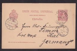 Spain: Stationery Postcard, 1894, Las Palmas Canary Islands Via London (cancel Ship Letter) To Germany (traces Of Use) - 1889-1931 Koninkrijk: Alfonso XIII