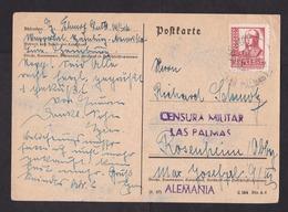 Spain: Postcard To Germany, 1938, 1 Stamp, Censored, Military Censor Cancel Las Palmas Canary Islands (traces Of Use) - 1931-Tegenwoordig: 2de Rep. - ...Juan Carlos I