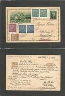CZECHOSLOVAKIA. 1933 (13 Nov) Leske Zleby - Switzerland, Burgdorf. 50h Green Illustrated Stat Card + 6 Adtls, Cds. Fine. - Czechoslovakia