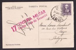 Spain: Postcard To Belgium, 1939, 1 Stamp, Censored, Censor Cancel Santa Cruz Tenerife, Canary Islands (traces Of Use) - 1931-Tegenwoordig: 2de Rep. - ...Juan Carlos I