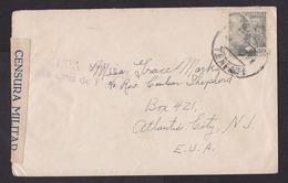 Spain: Cover To USA, 1940s, 1 Stamp, Censored, Censor Label & Cancel Santa Cruz Tenerife, Canary Islands (traces Of Use) - 1931-Tegenwoordig: 2de Rep. - ...Juan Carlos I