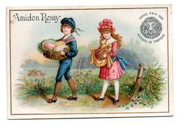 Chromo Amidon Remy Tête Lion Gaillon Eure Jeu Enfant Garçonnet Fillette Récolte Oeuf Pâques Fête Lièvre Animal écharpe - Trade Cards