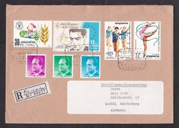 Spain: Registered Cover To Germany 1985, 7 Stamps, Dance, Food, R-label Bajamar Tenerife, Canary Islands (traces Of Use) - 1931-Tegenwoordig: 2de Rep. - ...Juan Carlos I
