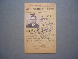 MINISTERE DE LA MARINE - CARTE PERMANENTE D'ACCES 1940 - Documenti Storici