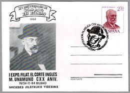 Escritor MIGUEL DE UNAMUNO - Writer. Bilbao, Pais Vasco, 1984 - Escritores