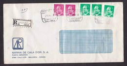 Spain: Registered Cover, 1988, 5 Stamps, R-label Santany, Mallorca, Balearic Islands (damaged, See Scan) - 1931-Tegenwoordig: 2de Rep. - ...Juan Carlos I
