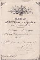 MARSEILLE / PENSION DE MMESGOMIEU  ET GROSLIEU / 98 RUE ST DOMINIQUE / 2 EME PRIX DE GEOGRAPHIE - Diploma & School Reports
