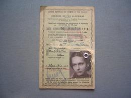 CARTE DE REDUCTION SNCF - CHEMINS DE FER - ALGER 1945 ( 3 ) - Biglietti Di Trasporto
