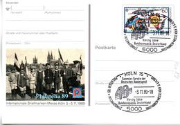 "BRD Amtl. GZS-Sonderpostkarte PSo 19 ""Int. BM-Ausstellung PHILATELIA'89"" WSt ""Europa 1989"", SSt 3.11.89 KÖLN 15 - [7] Repubblica Federale"
