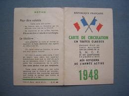 CARTE DE CIRCULATION - SNCF - OFFICIERS DE L' ARMEE ACTIVE 1948 - Biglietti Di Trasporto