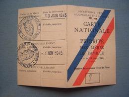 CARTE NATIONALE DE PRIORITE DES MERES DE FAMILLE 1945 - Documenti Storici