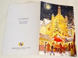 Carte De Voeux De Noël Intitulée Marché De Noël, Peinte Avec La Bouche - Weihnachten