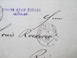 DR 1887 Pfennig Nr. 41 MeF Senkrechtes Paar Stempel K1 Cöln (Rhein) - Reims Frankreich Rechnung / Firmenbrief Mit Inhalt - Germany