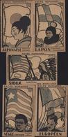 Lot CPA Races Humaines Coloriage Instantané Nègre D'Afrique Peon Japonaise Européen Lapon Sioux Publicité Phosphatine - Ethniques & Cultures